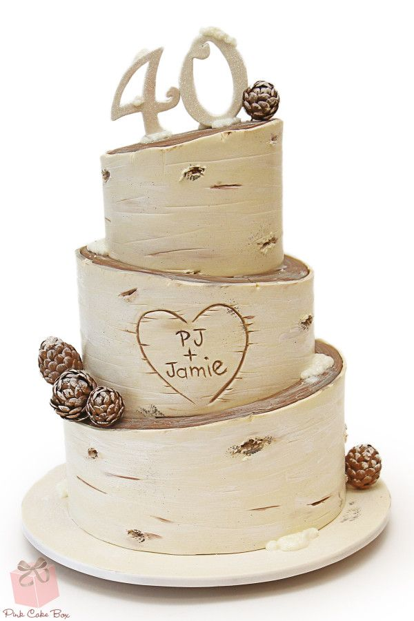 Rustic Birch Inspired 40th Birthday Cake With Edible Pine Cones Happy
