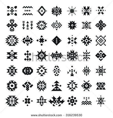 Vector abstract geometric elements, pattern, ethnic