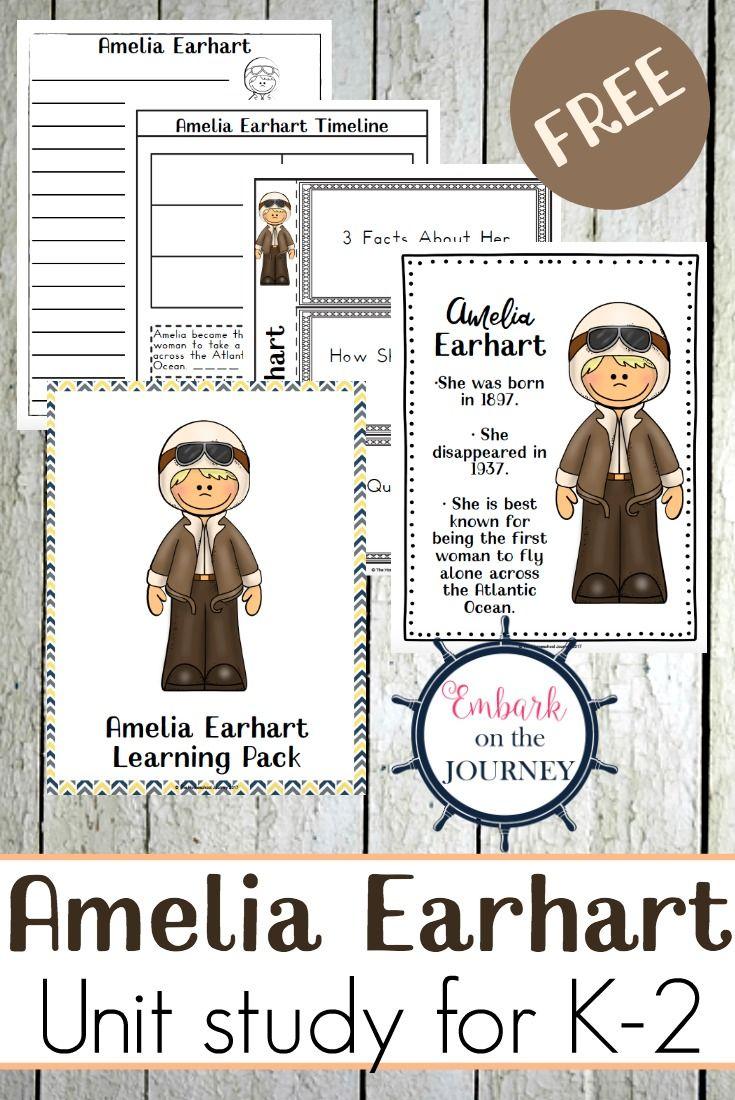 Engaging Amelia Earhart Unit Study for K-2 {Free Printables}   Amelia  earhart [ 1100 x 735 Pixel ]