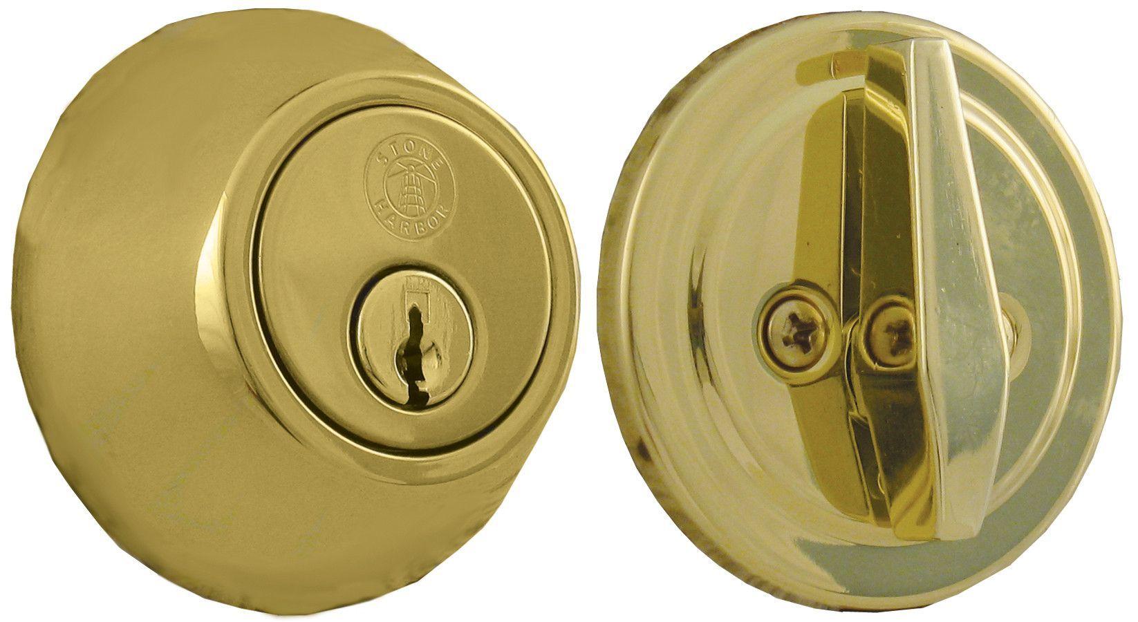 Single Cylinder Deadbolt KW1 Keyway Bright Brass