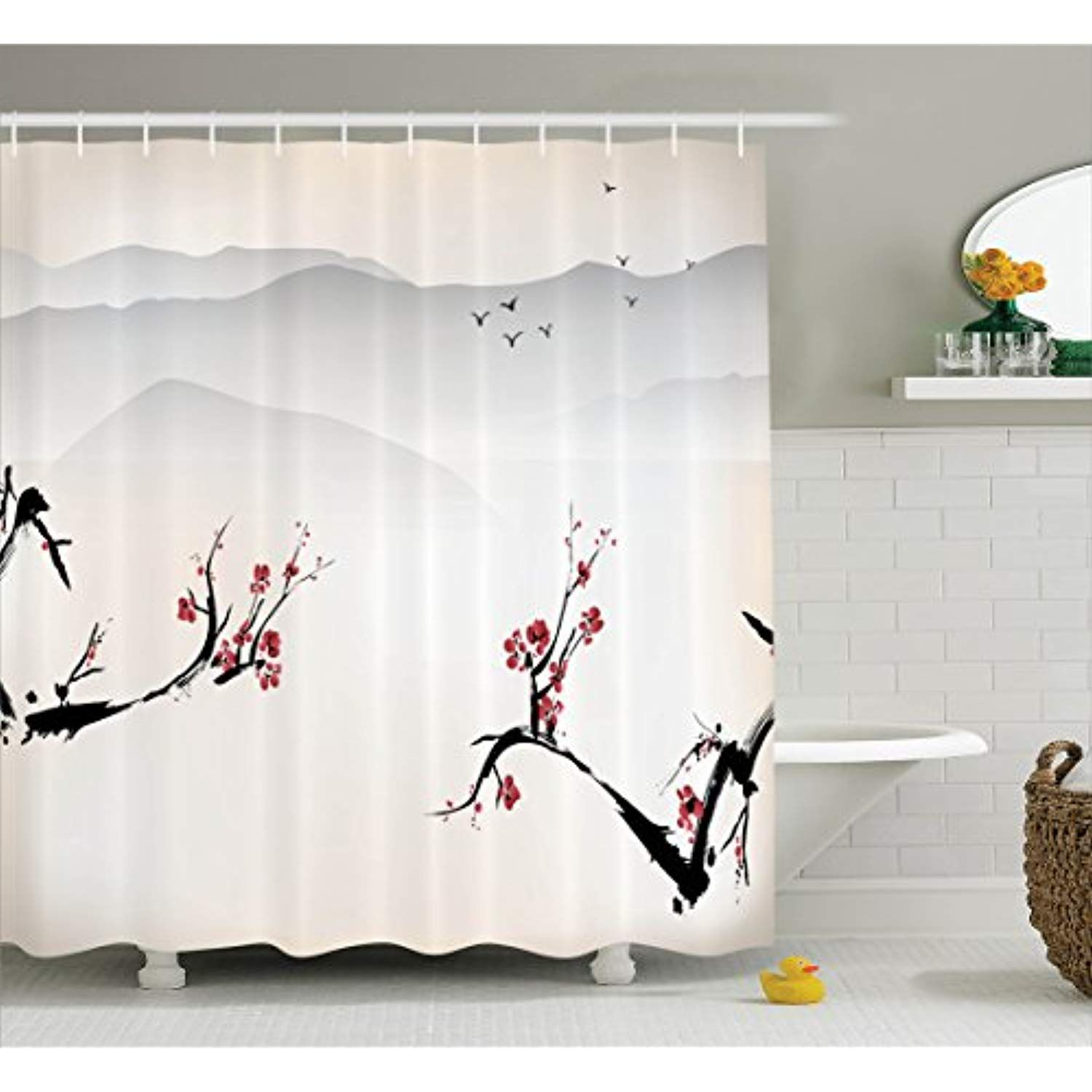 Ambesonne Asian Decor Shower Curtain Set Japanese Nature