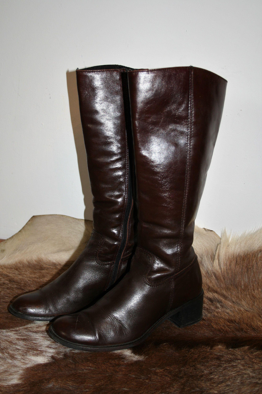 Brazowe Kozaki Skorzane Damskie Kozaki Rozmiar 37 Wkladka 25 Etsy Brown Leather Boots Leather Boots Women Brown Leather Boots Womens