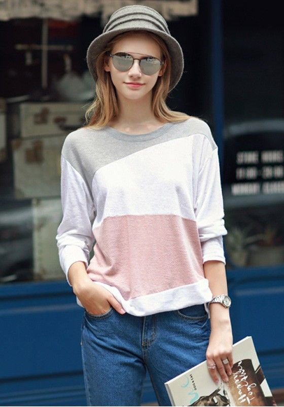 White Color Block Round Neck Long Sleeve Casual T-Shirt
