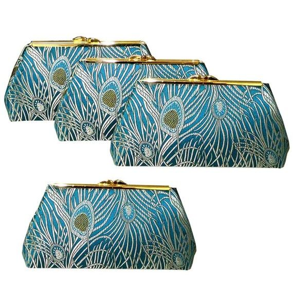 Four Bridesmaids Clutches  Teal Peacock Feather Fabric  by Upstyle
