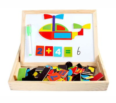 Learning Educational Toys Vehicles Puzzle Multifunctional Magnetic  Double Sided Drawing Board Puzzle Wooden Building