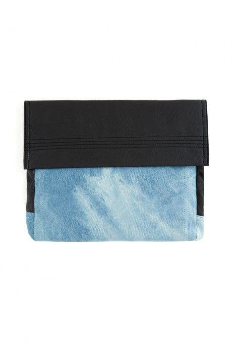 Denim-Leather Clutch