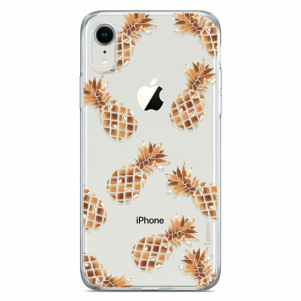 Coolwee iphone xr case rose gold pineapple case shiny