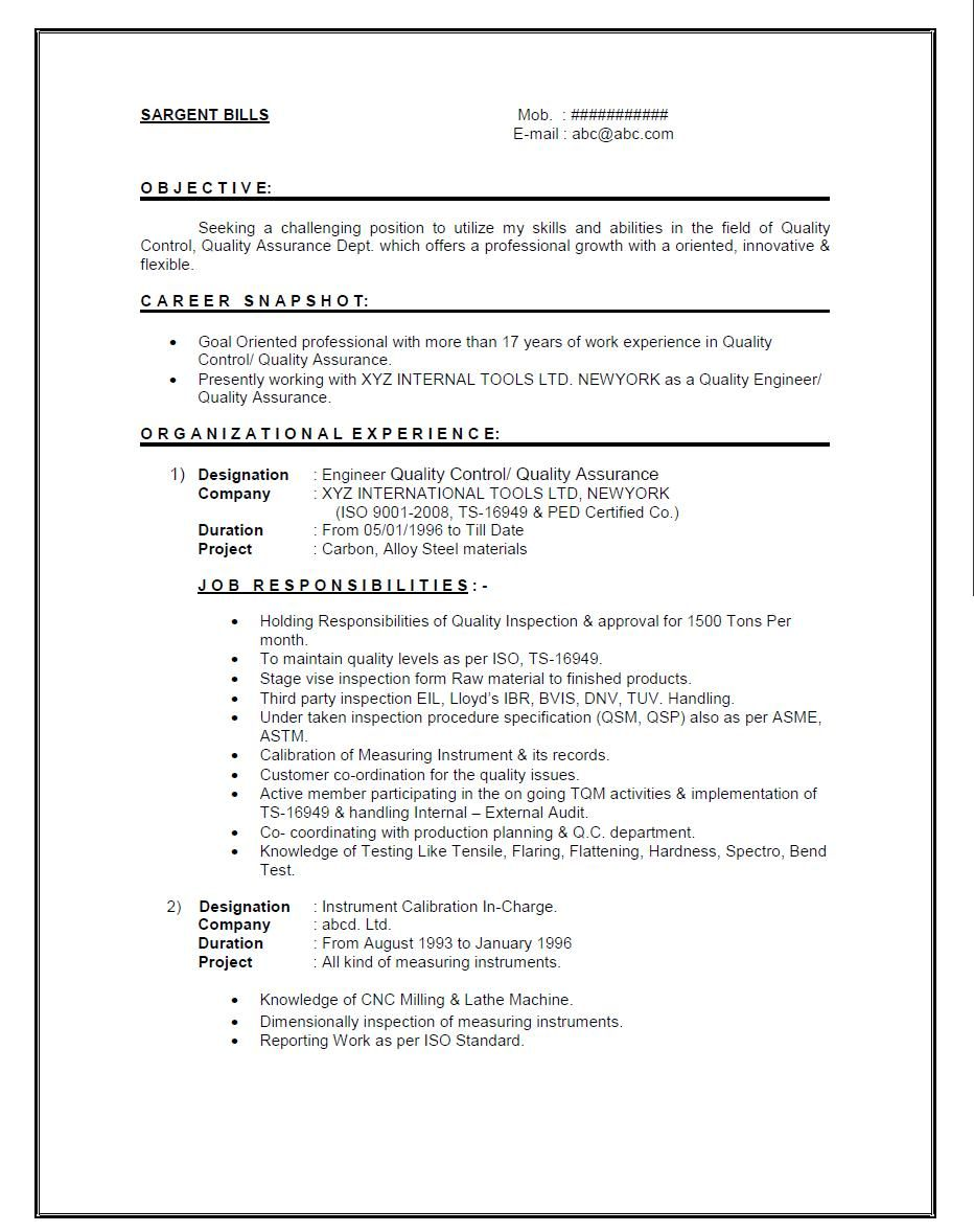 Qa Engineer Resume Maintenance Engineer Sample Resume Cover Letter Best Ideas