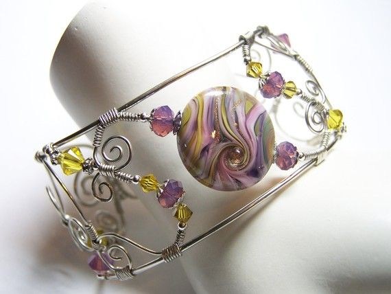 Wire Wrapped Cuff Bracelet by Fanceethat