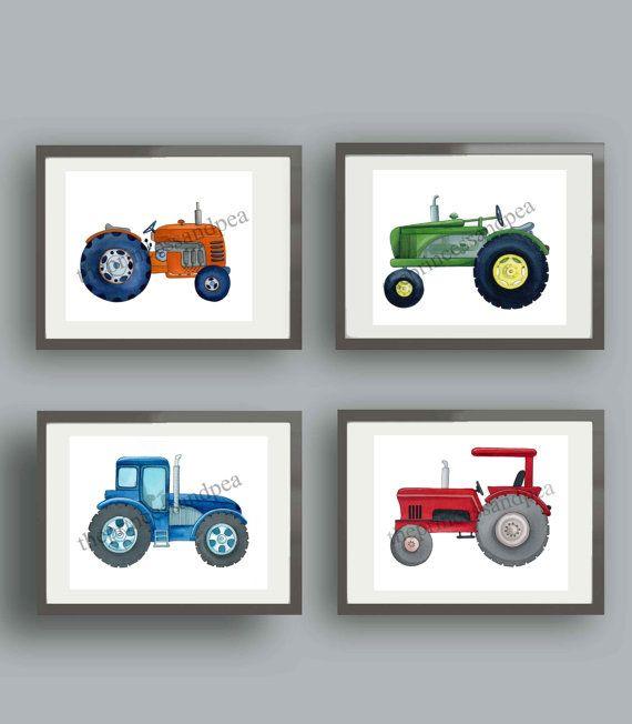 Tractor art, tractor wall art decor, tractor nursery art prints, boy ...