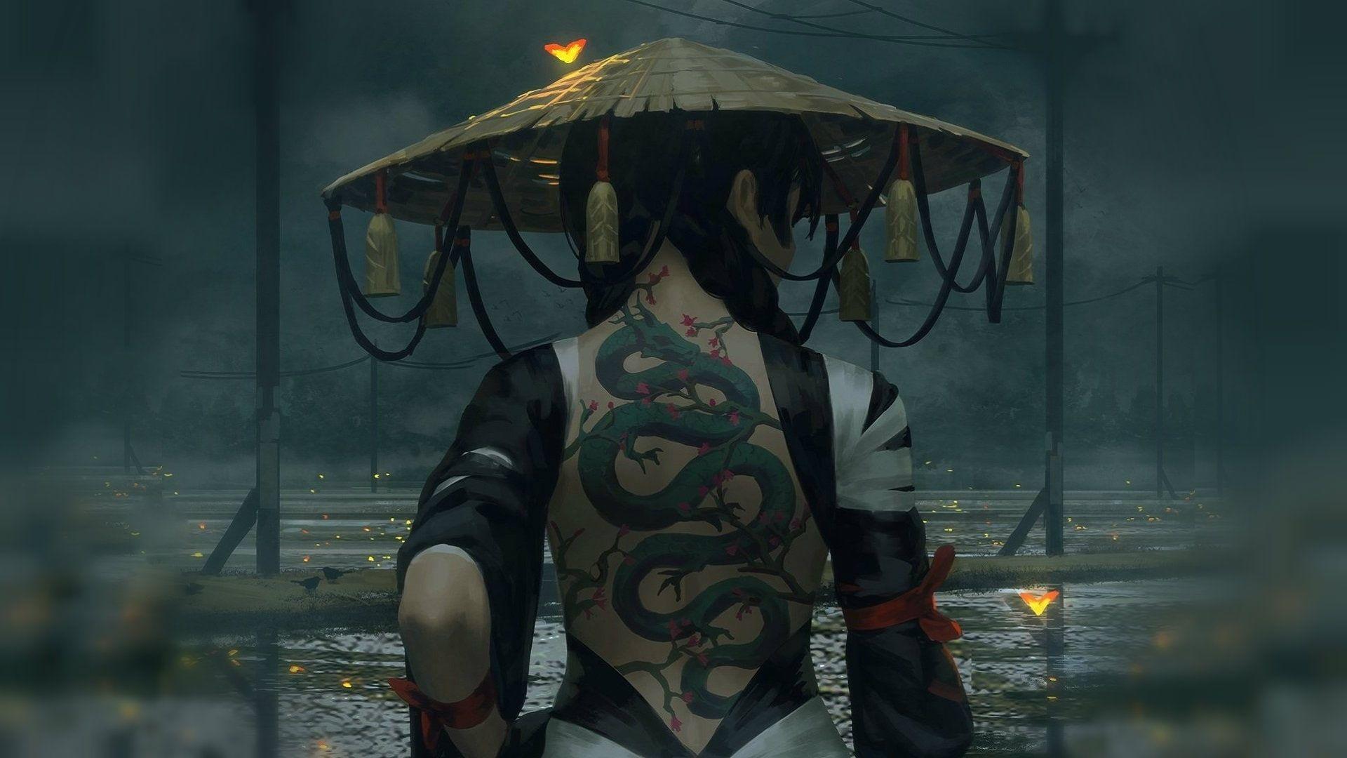 Guweiz Tattoo Hat Back Women Warrior Fantasy Girl Dragon Z W Gu Asia Artwork Fantasy Art 1080p Wallpaper Hdwallp Fantasy Girl Hd Wallpaper Fantasy Tattoo wallpaper hd 1080p