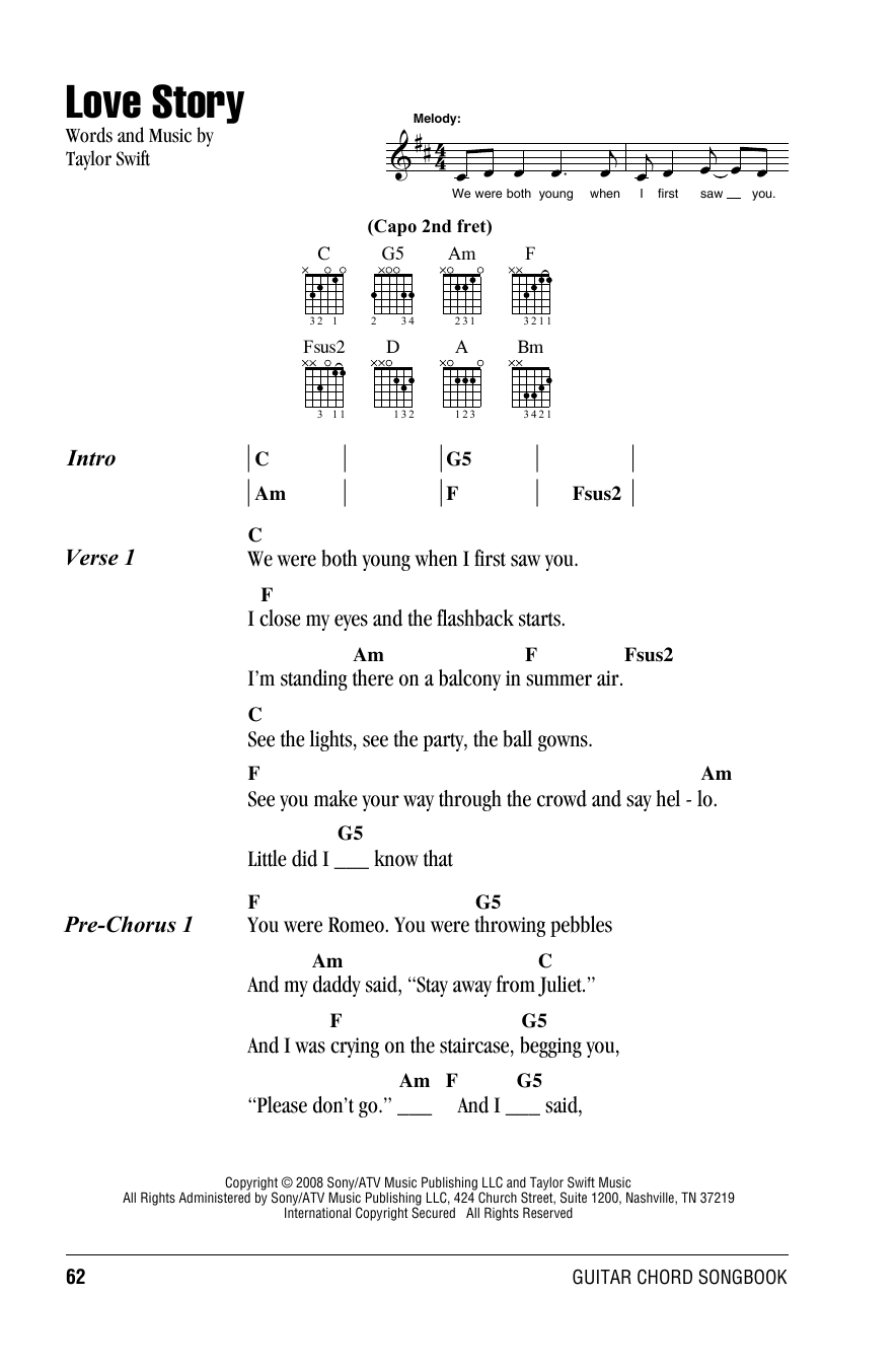 Love Story by Taylor Swift   Guitar Chords/Lyrics   Guitar ...