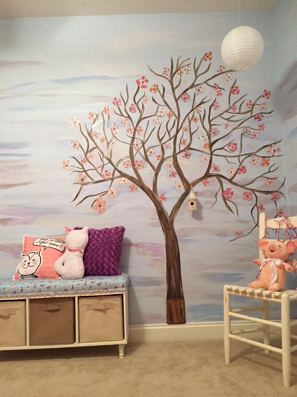 Wall art tree mural, hand painted tree mural, DIY bench, girls room, toddler room, hand painted chair