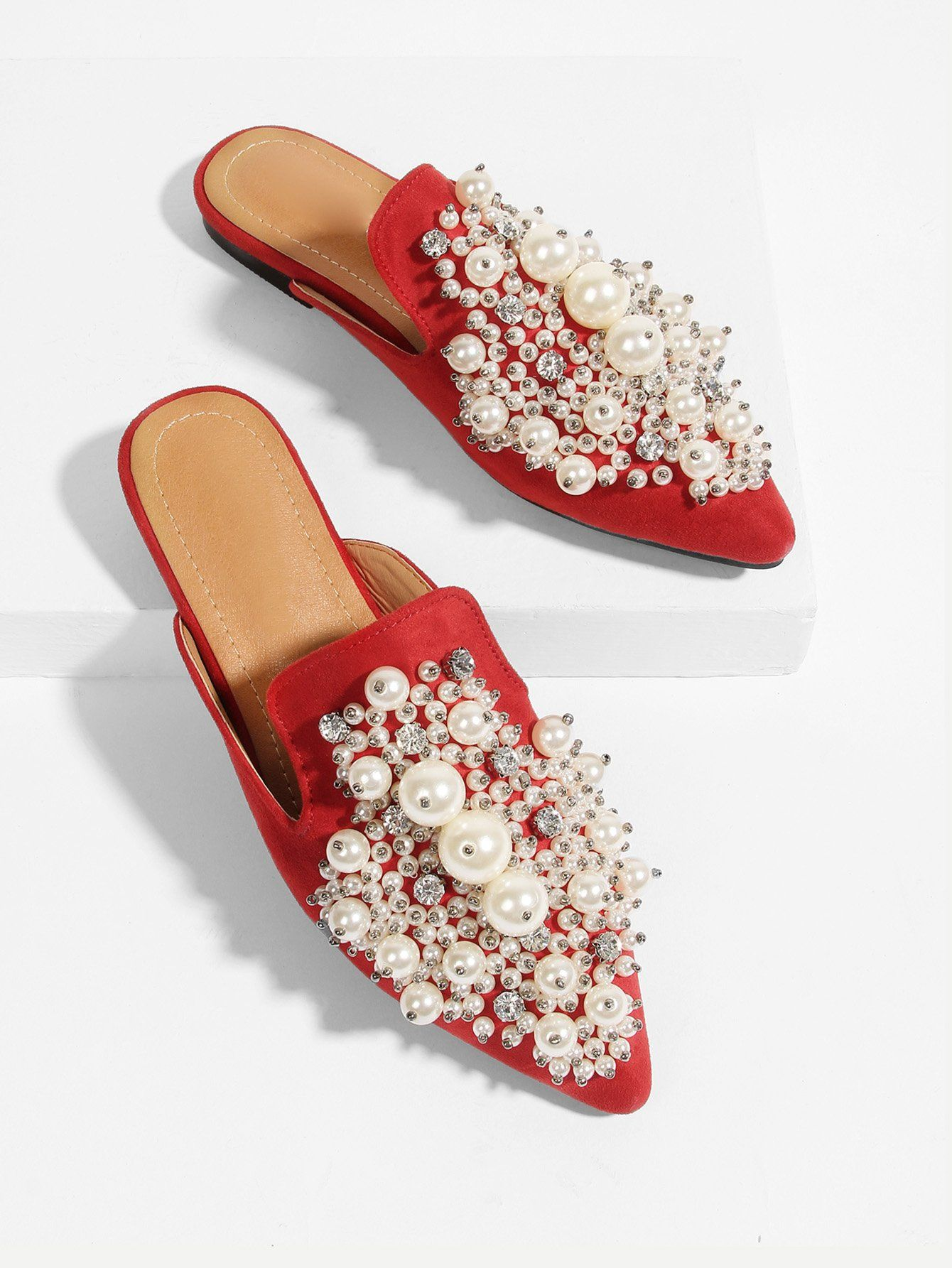 Faux Pearl Decorated Flat Mules -SheIn