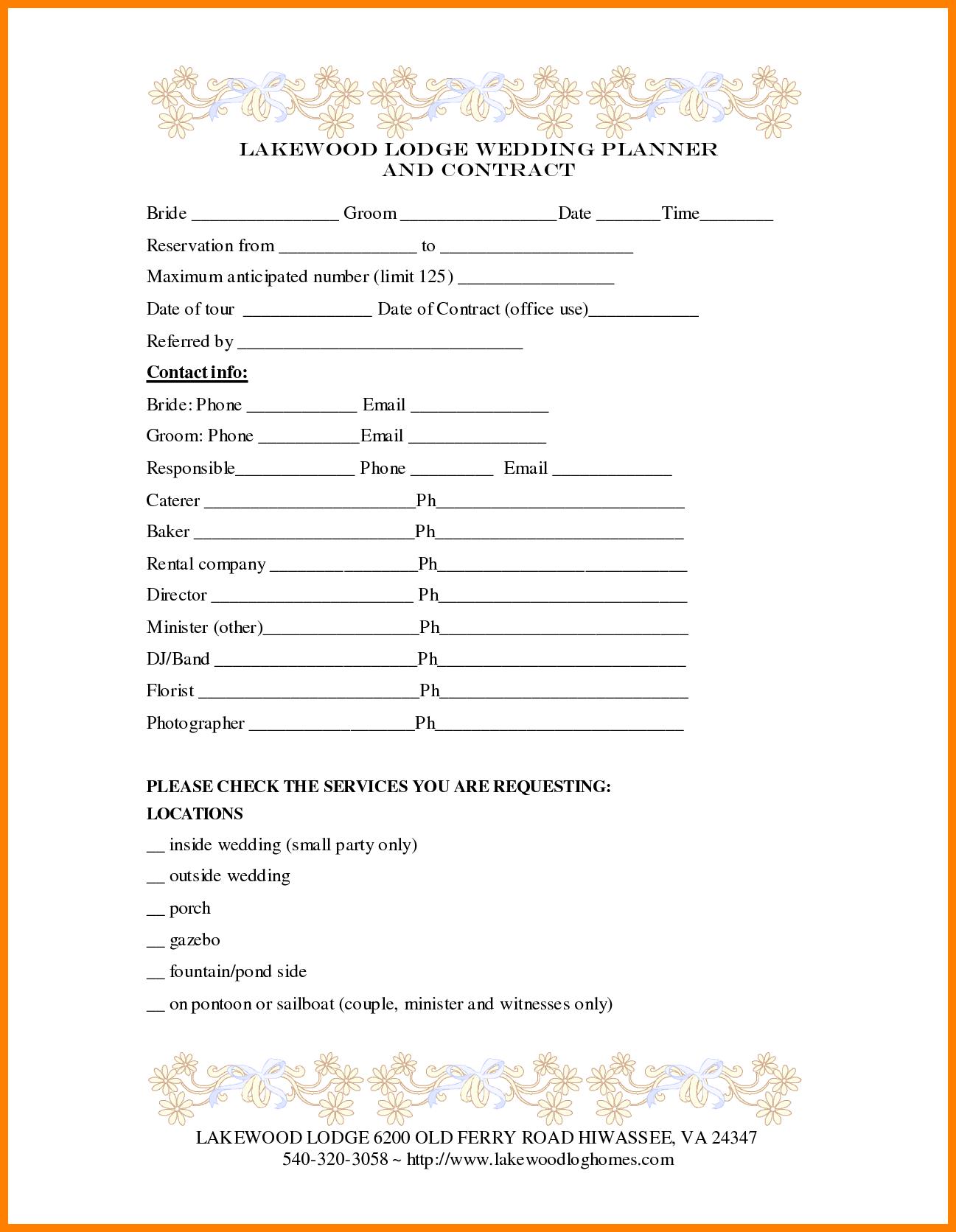 7  wedding planner contract