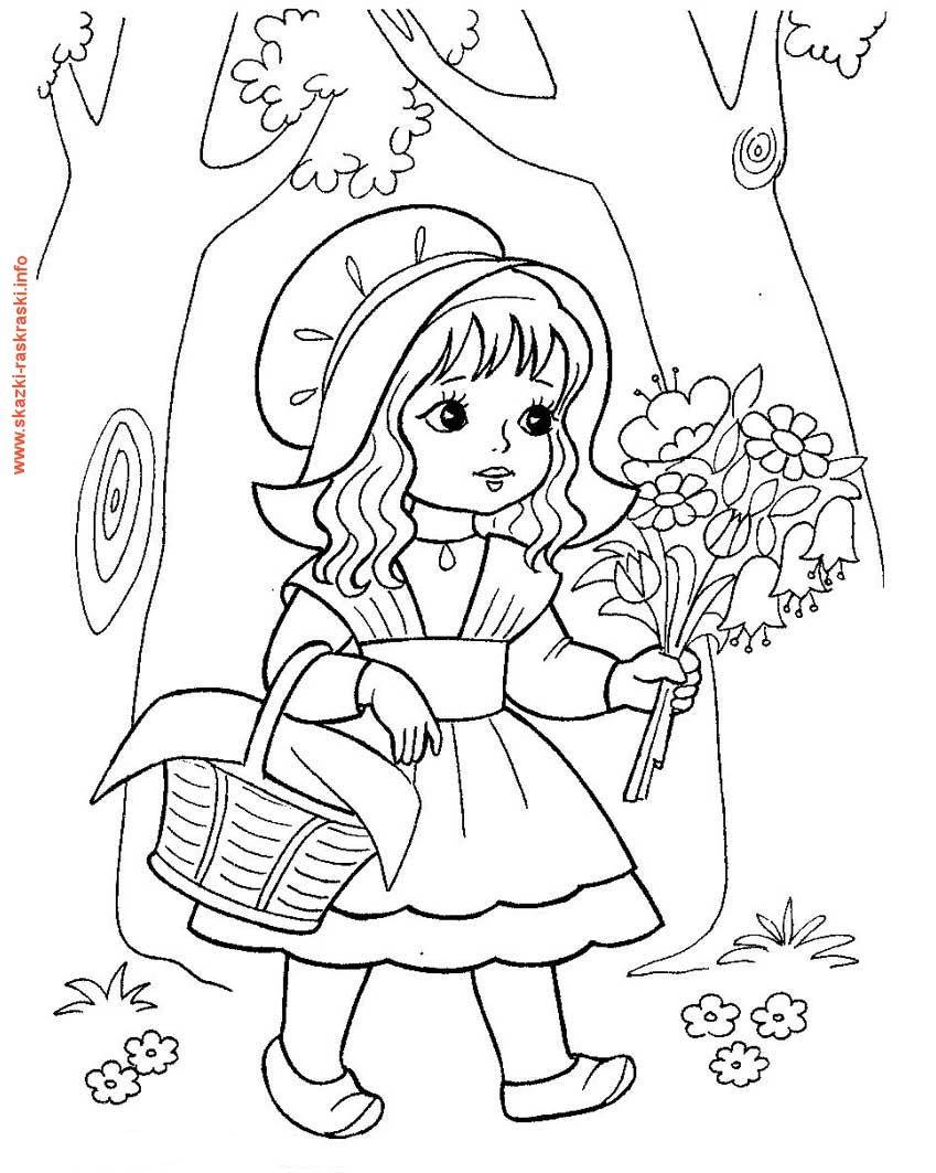 Raskraska Krasnaya Shapochka S Buketom Precious Moments Coloring Pages Disney Princess Coloring Pages Cute Coloring Pages