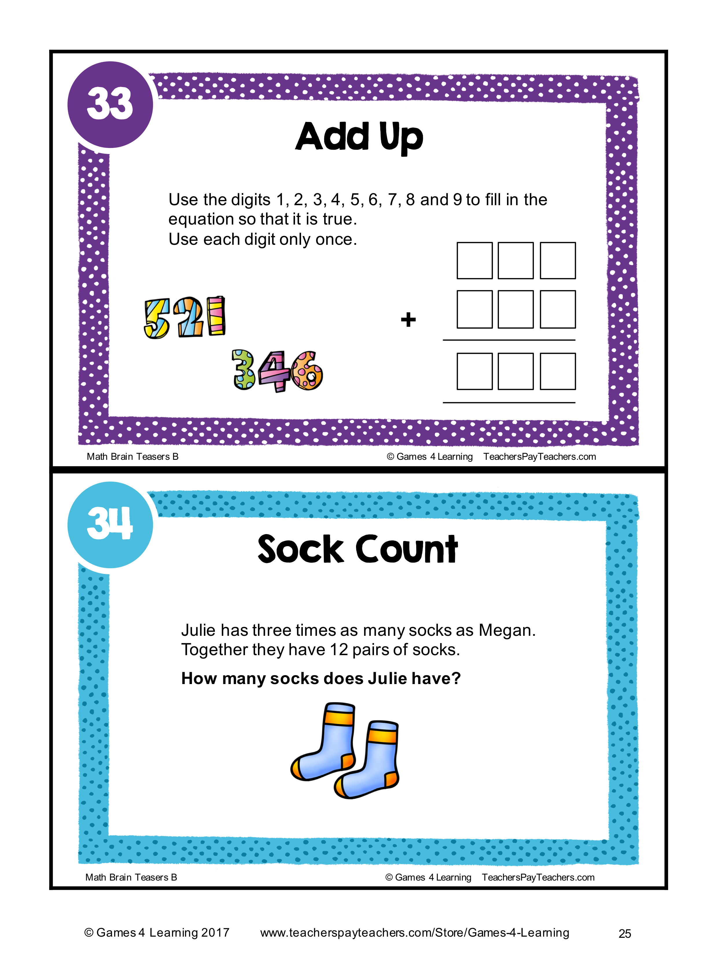 Math Task Cards Math Problems And Math Brain Teasers