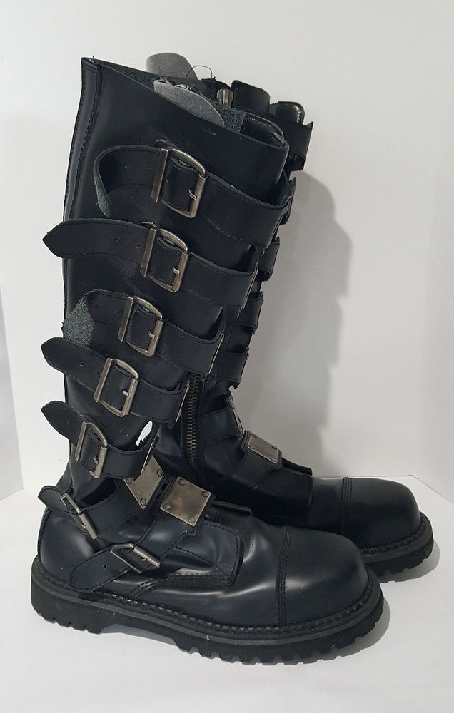 96470338e4b8 Demonia Black Metal Plates Buckle Tall Steel Toe Combat Boots Men s US 13  EU 47  Demonia  Combat