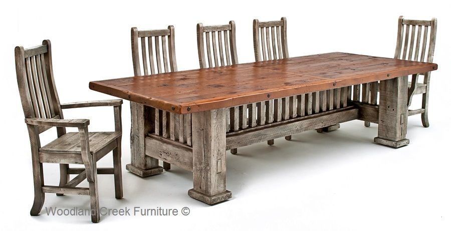 Reclaimed Barnwood Dining Table Mission Style Dining Barnwood Dining Table Mission Style Furniture Farmhouse Dining Chairs
