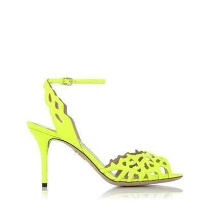 19c6ca6ee0fb Charlotte Olympia Coralena Sandals in Fluorescent Yellow