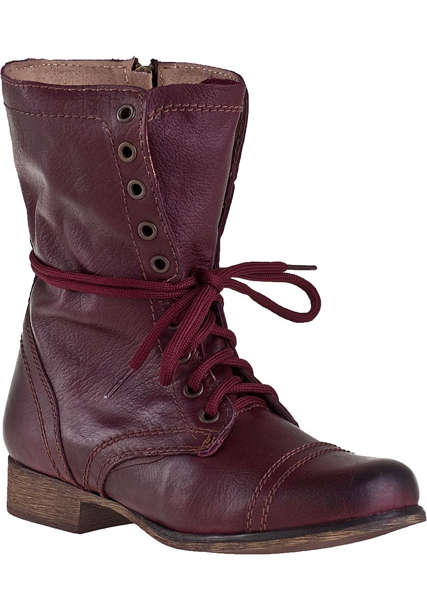 Dureza Posteridad inercia  Steve Madden Troopa Combat Boot Wine Leather - Jildor Shoes, Since ...