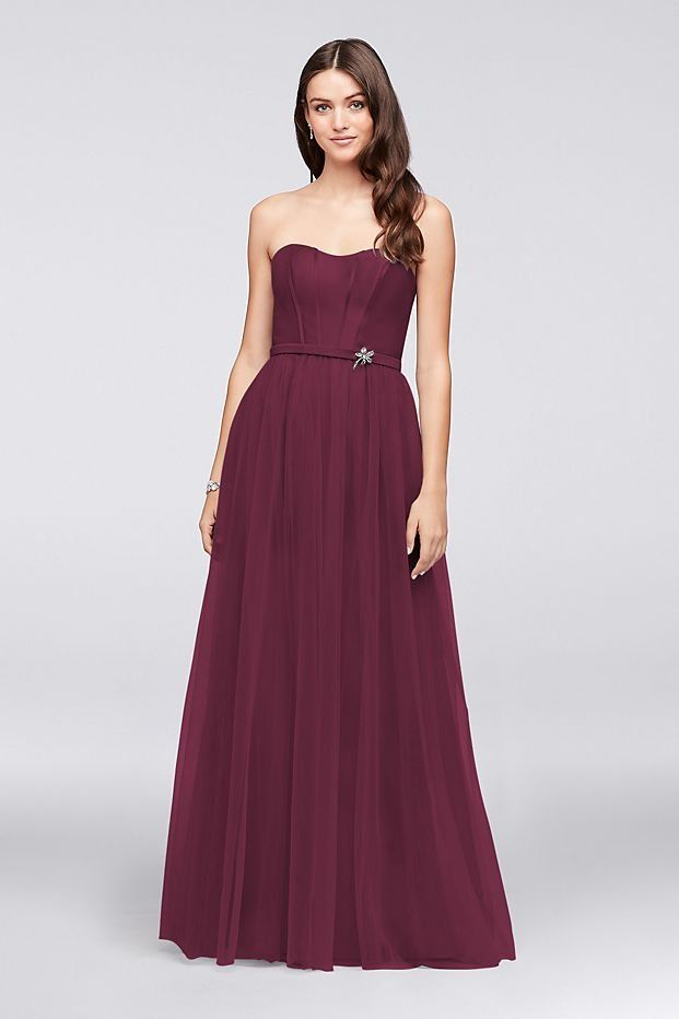 06914ac7b3a2 Wine Strapless Mikado and Tulle Long Bridesmaid Dress by Oleg Cassini  available at David's Bridal