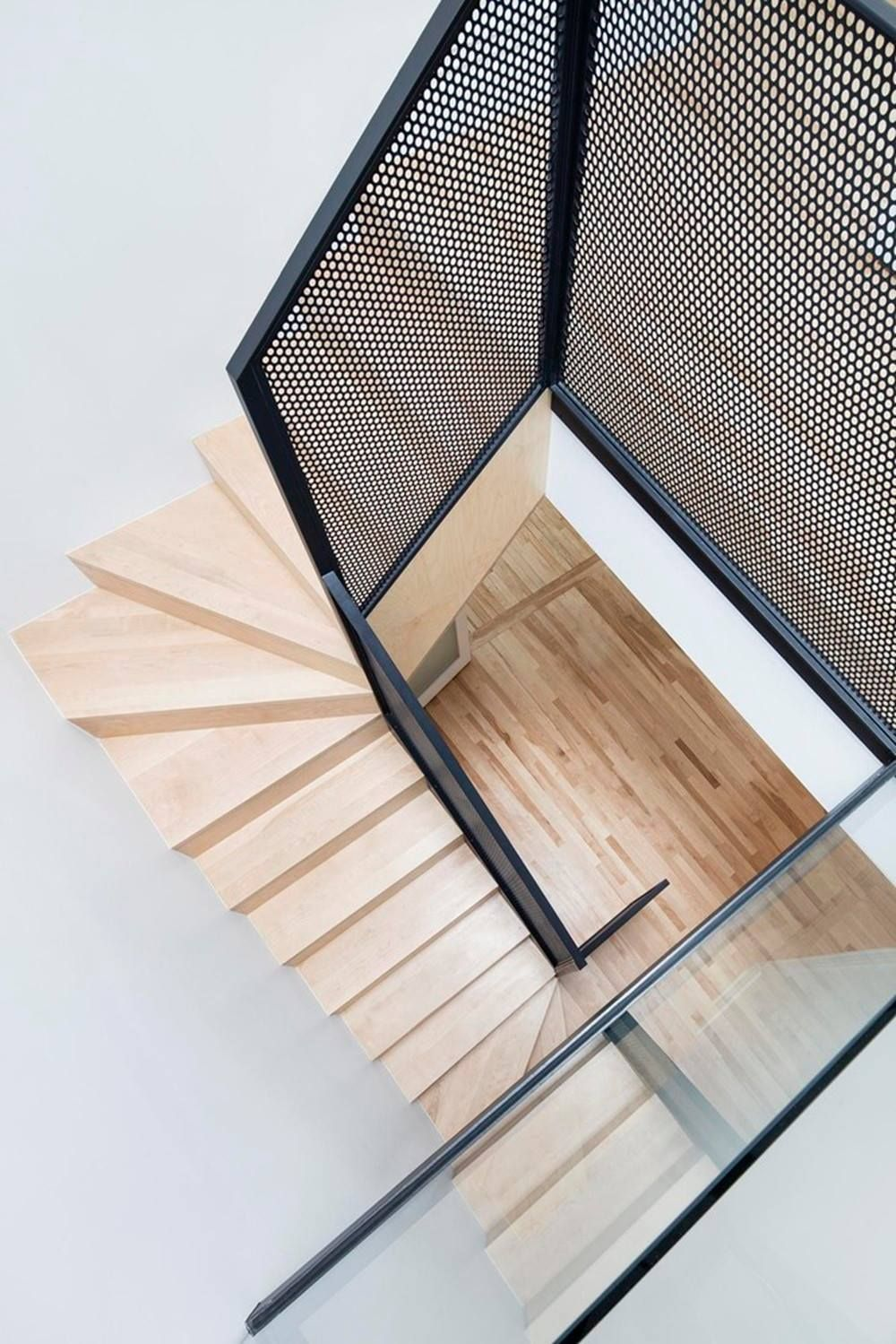 Best Perforated Metal Stair Rail Slim Profile Contemporary 640 x 480