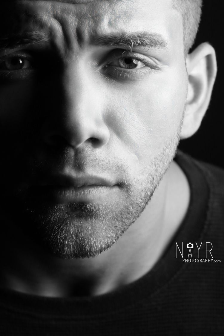 Guy close up black and white headshot nayr photography