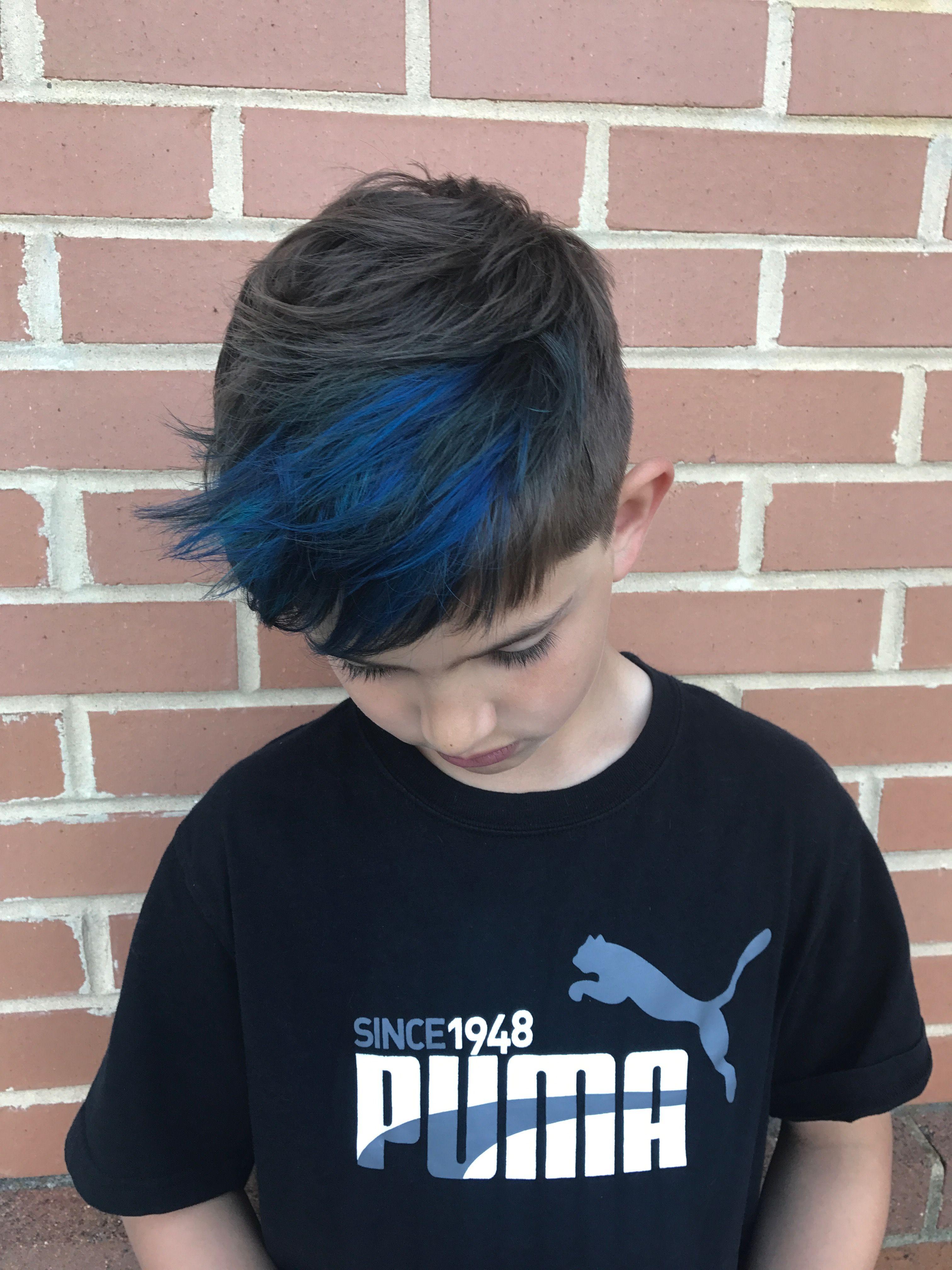 Boy Blue Highlights Hair 2018 2019 Boys Dyed Hair Kids Hair