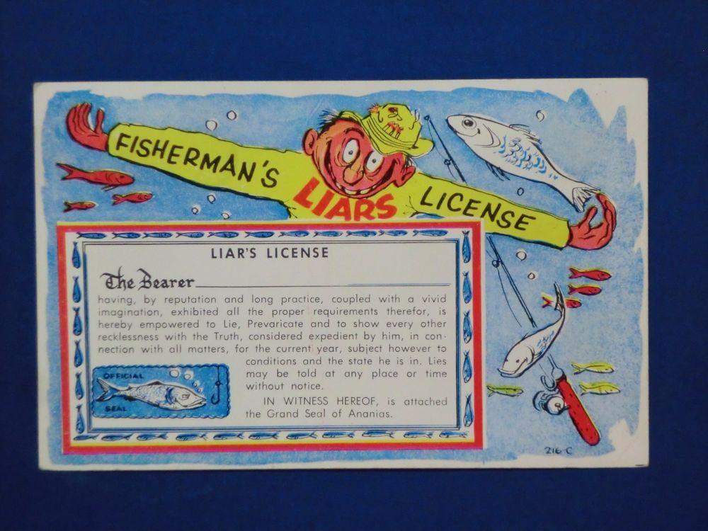 Vintage Saxtone Comic Postcard Fisherman\'s Liars License Fishing ...