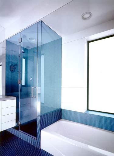 Blue Tinted Glass Bathroom Inspiration Bathroom Redesign Bathroom Interior Design