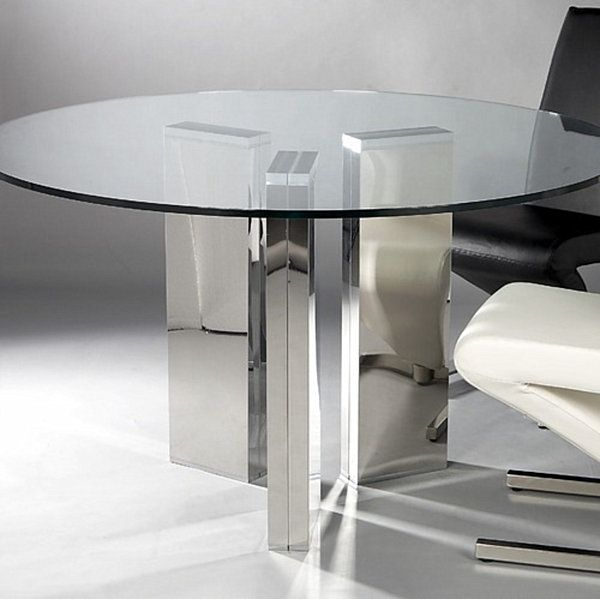 18 sleek glass dining tables for Sleek dining room tables