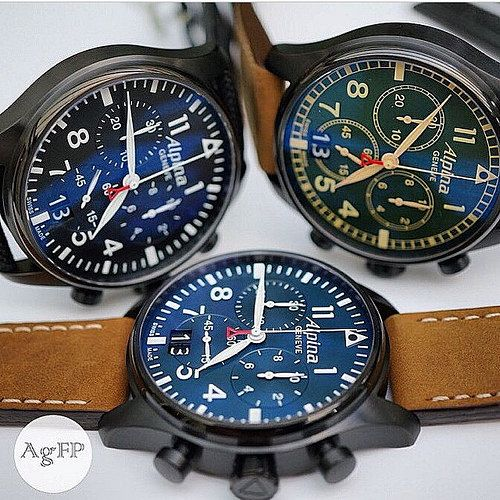 Alpina Watches Startimer Pilot Chronograph Big Date. Swiss professional pilot watches.