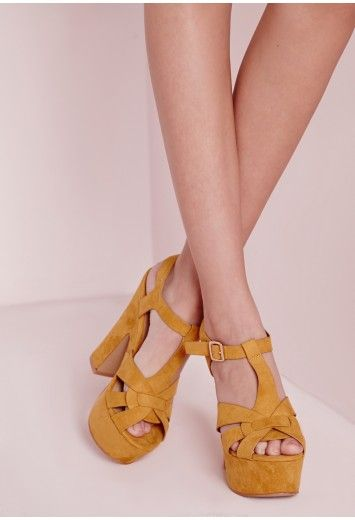 fc2cac251 70 s Platform Heeled Sandals Yellow - Shoes - High Heels - Missguided Womens  Fashion Online