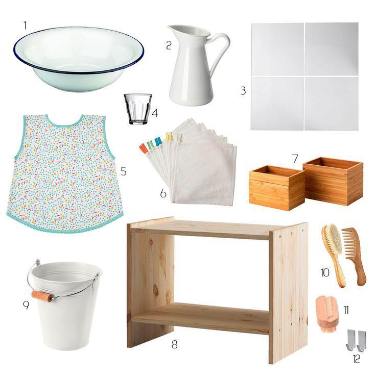 Cliquer Ici Pour Decouvrir Comment Creer Un Petit Meuble De Salle De Bain Mont Montessori Home Montessori Room Ikea Montessori Bathroom Kids
