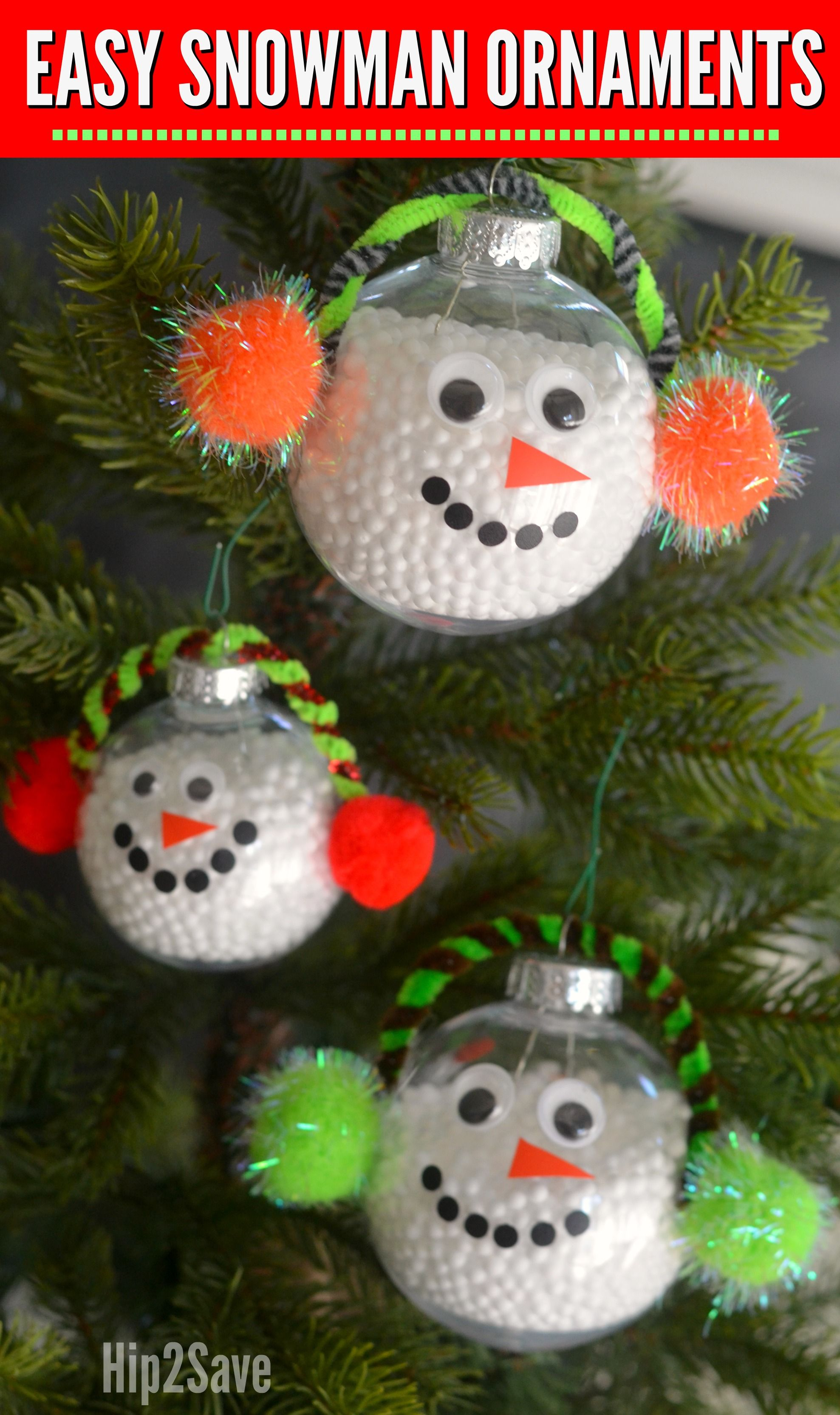 Turn clear ornaments into a cute snowman to hang on the tree