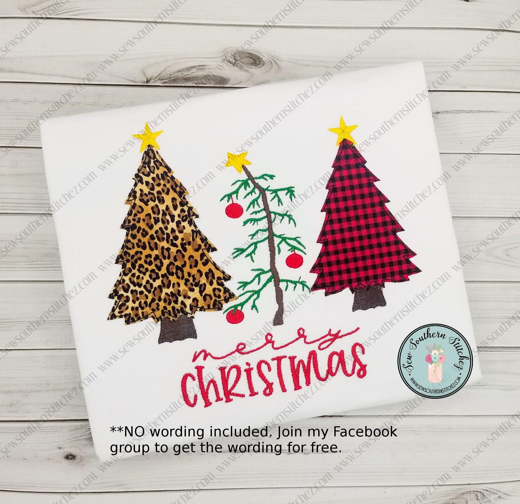 Raggedy Christmas Tree Trio Applique Design 2 Applique Tre In 2020 Charlie Brown Tree Applique Designs Christmas Tree Truck