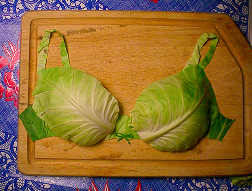 14.) Lettuce Bras New meaning to lettuce cup Weird food