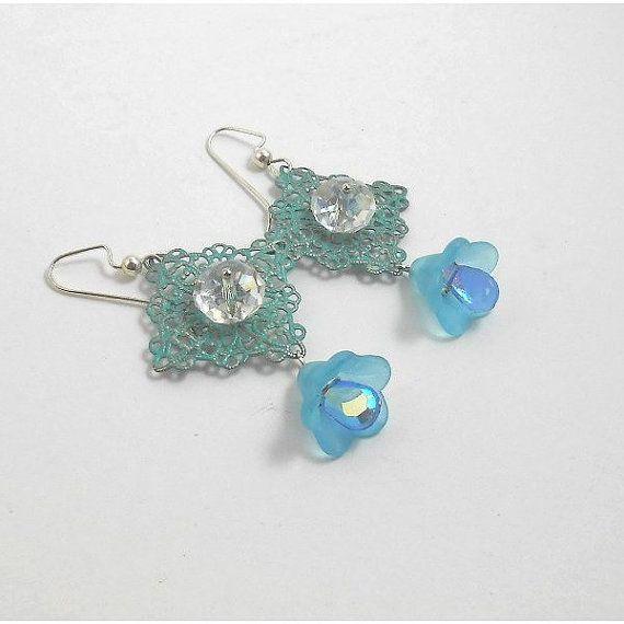 20% discount Original design Crystal EARRING. Ocean blue by TAMASHAjewelry, $13.50