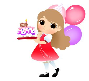 Birthday Girl With Cake And Candle Clip Art Free Birthday Gift
