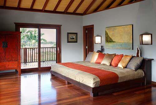 Exotic Hawaiian Bedroom Interior Decorating With Wooden Furniture