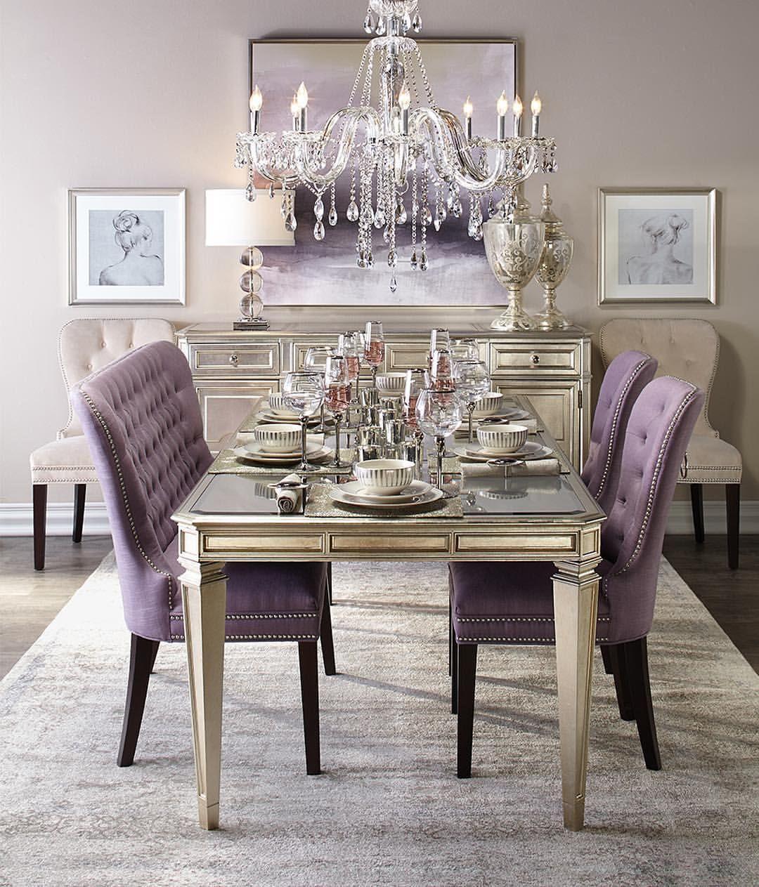 Consulta Esta Foto De Instagram De Zdesignathome 2 432 Me Gusta Purple Dining Room Elegant Dining Room Dining Room Design