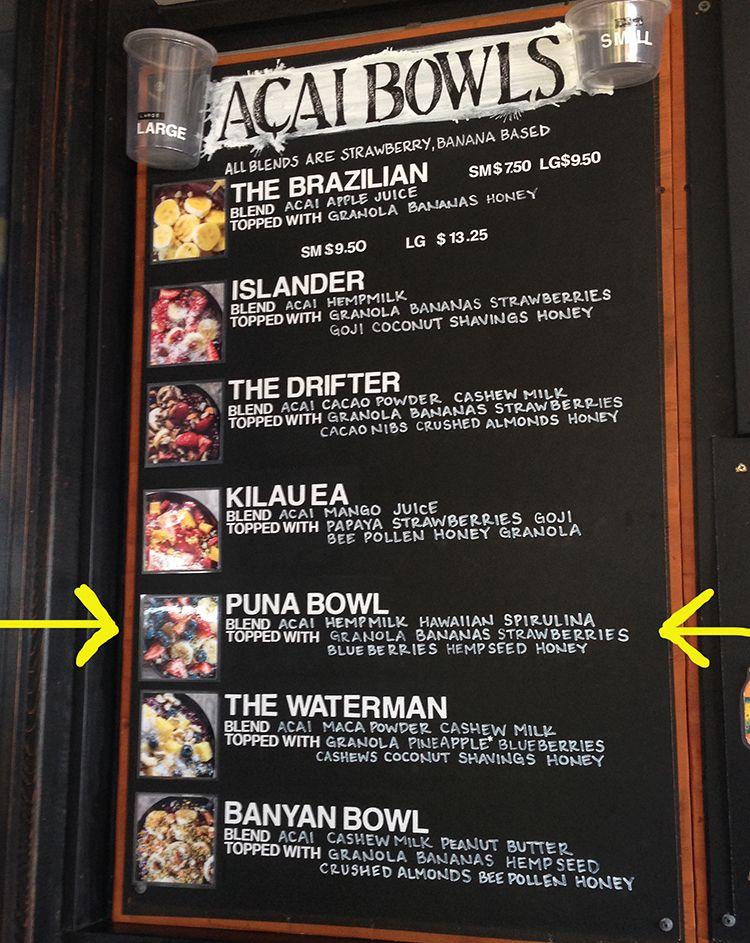 Basik Cafe Kona Menu