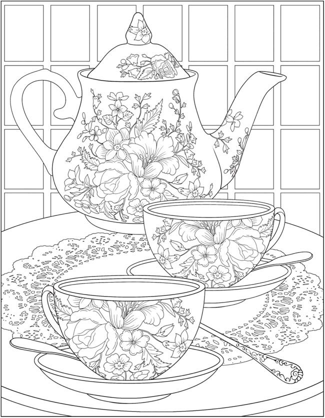 Free tea time coloring pages from Dover Publications
