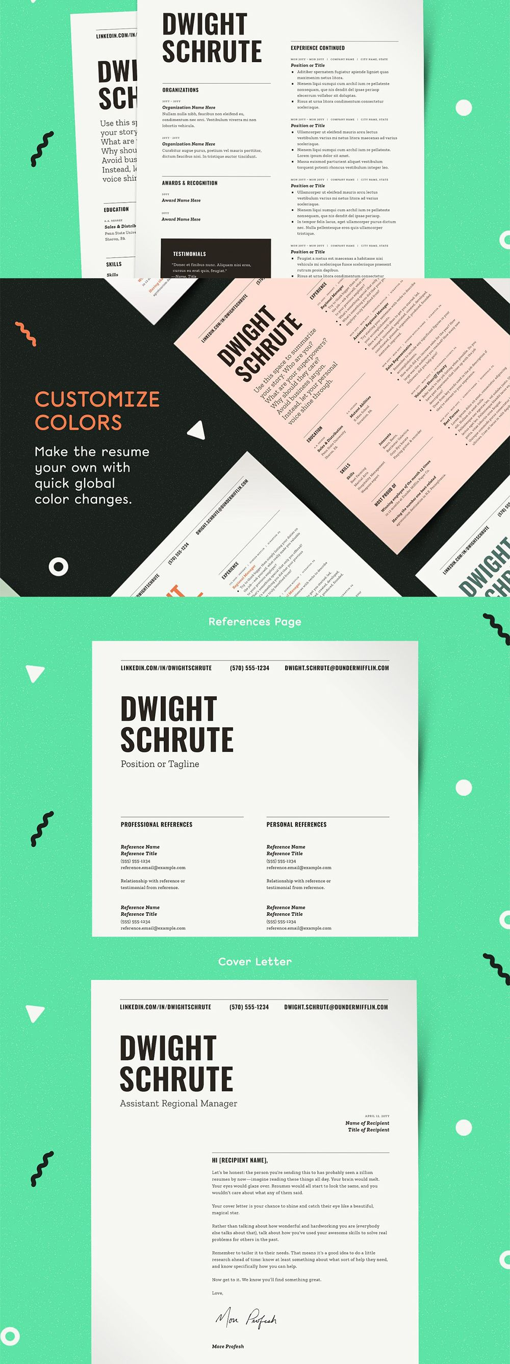 Resume Template Word Pages InDesign in 2020 Resume