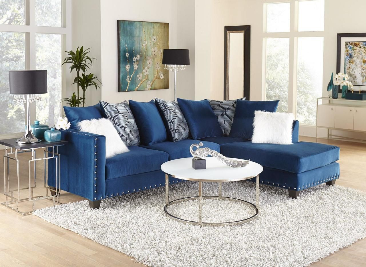 Delta Furniture Implosion Blue Sectional Sofa Couches Living Room Furniture Blue Living Room #royal #blue #sectional #living #room