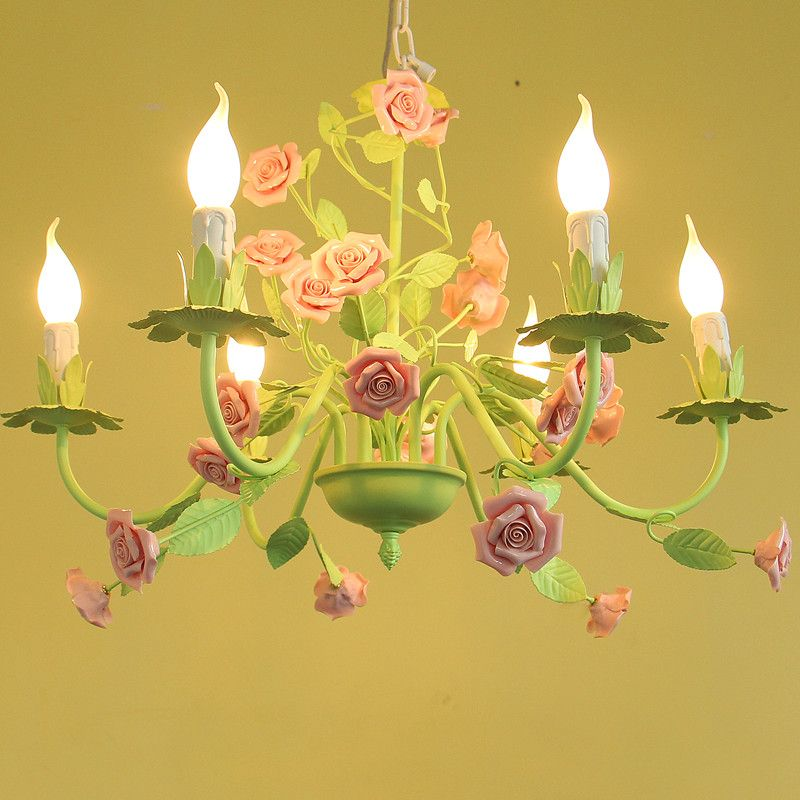 Goedkope Europese tuin stijl bloem meisje kinderen hanglamp ijzer ...