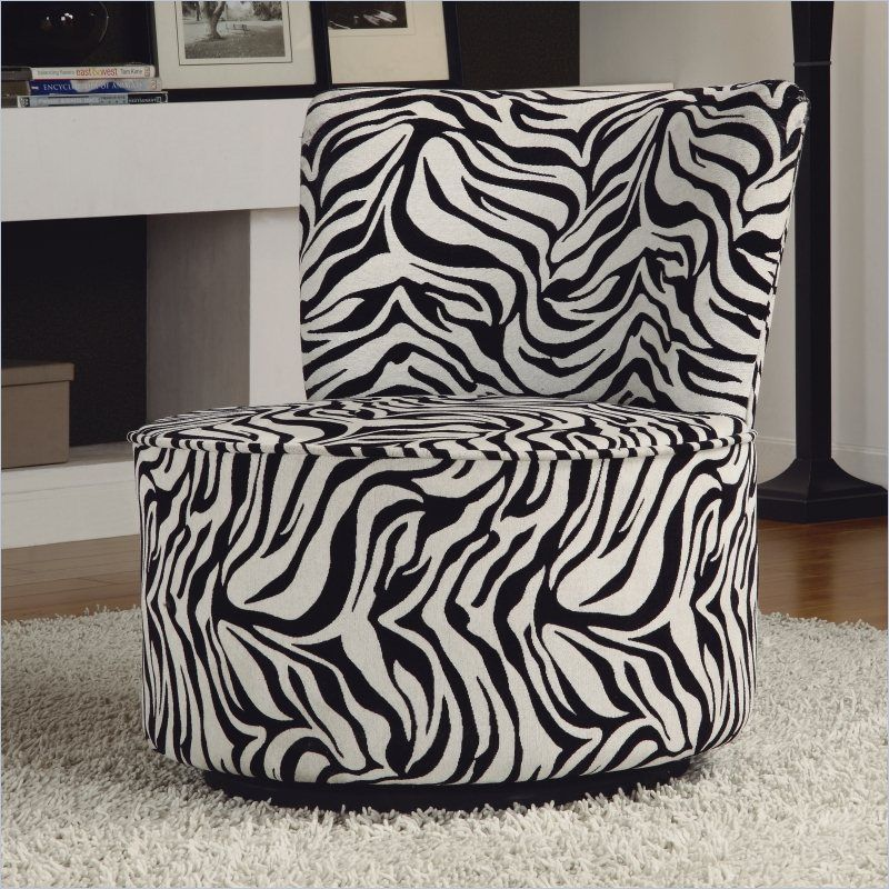 Trent Home Easton Fabric Swivel Lounge Chair in Black and