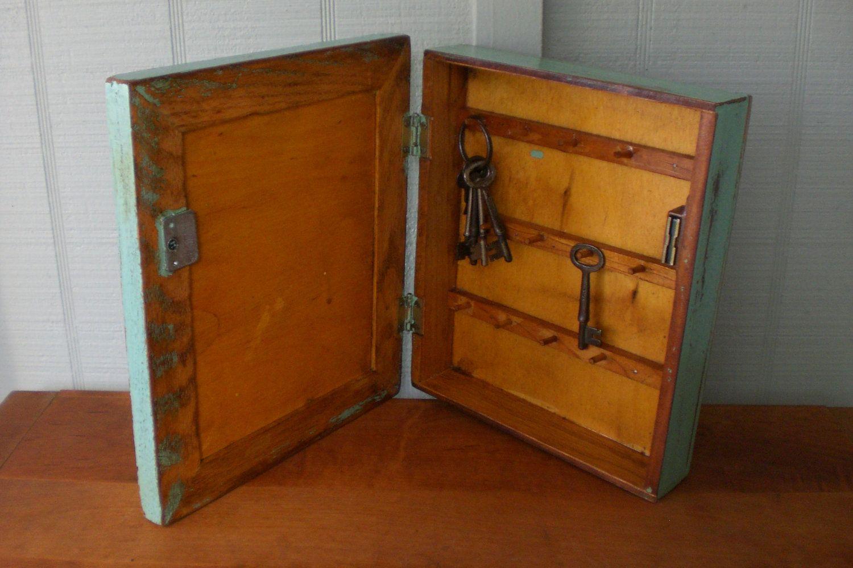 Primitive Vintage Key Cabinet Wooden Hanging Wall Box Framed Safe Shabby Cottage Chic Wood Jadeite 20 00 Sold Out Key Cabinet Wall Boxes Vintage Keys
