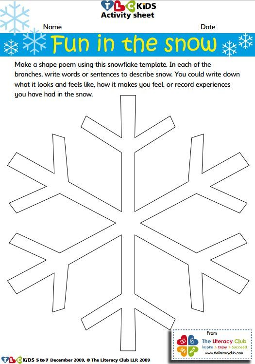 Snowflake Template For Shape Poetry Or Other Creative Writing On A